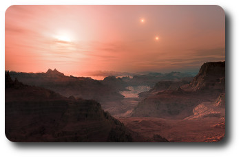 This artist's impression shows a sunset seen from the super-Earth Gliese 667 Cc. The brightest star in the sky is the red dwarf Gliese 667 C, which is part of a triple star system. The other two more distant stars, Gliese 667 A and B appear in the sky also to the right. Astronomers have estimated that there are tens of billions of such rocky worlds orbiting faint red dwarf stars in the Milky Way alone.